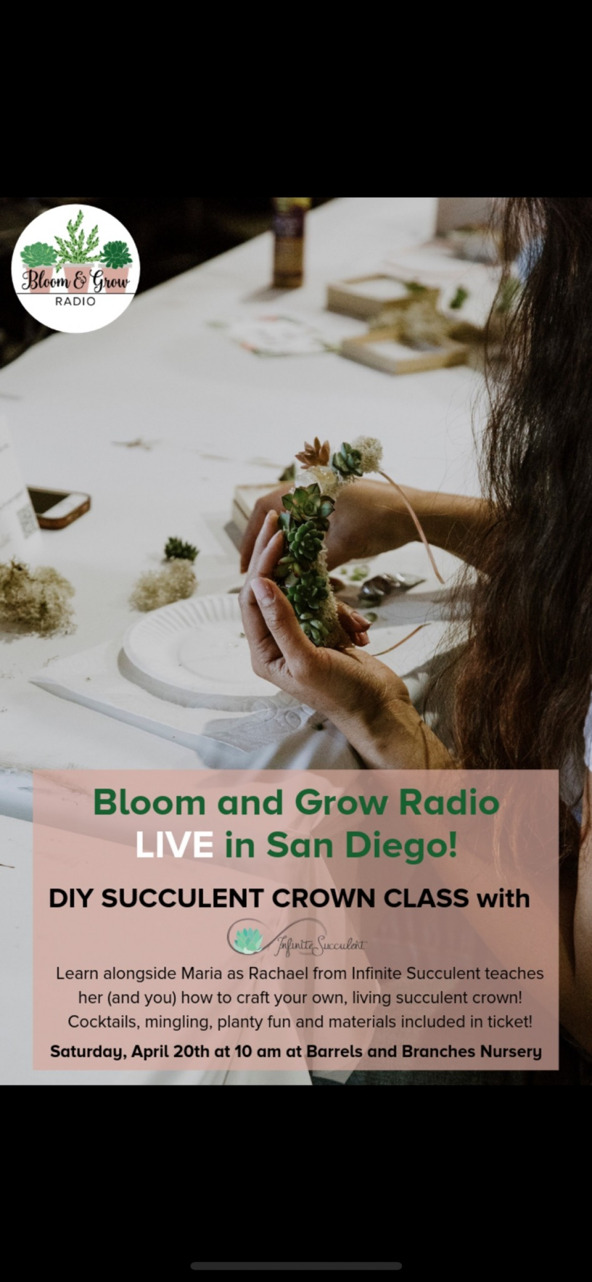 DIY Succulent Crown Workshop during Bloom & Grow Radio Podcast Taping